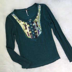 Free People Teal Sequin Long Sleeve Tee Shirt Top
